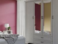 Шкаф 4-х дверный с зеркалами + 2 ящика Monako
