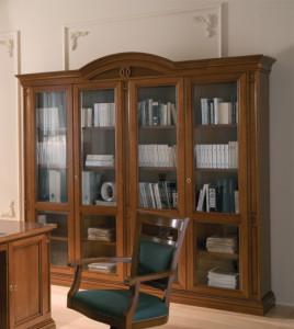 Арт. NA940 Библиотека 4-х дверная с деревянными полками