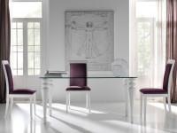 Стол Penelope прямоугольный стеклянный с фигурными ножками