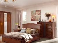 Кровать с деревянным фигурным изголовьем без изножья Сильвия Орех