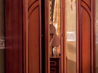 Шкаф 4-х дверный с выступом + 2 зеркала Сильвия Орех