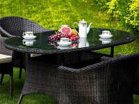 Плетеный стол Warsaw овальный 150 см темно-коричневый