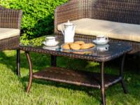 Плетеный кофейный стол Warsaw темно-коричневый