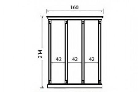Комплект карнизов для стеновой панели 40+40+40 PALAZZO DUCALE Ciliegio