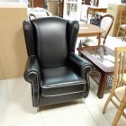 Кресло Bergere черная кожа
